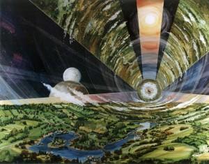 Inside an O'Neill cylinder - life amongst the stars, circa 1970 (NASA)