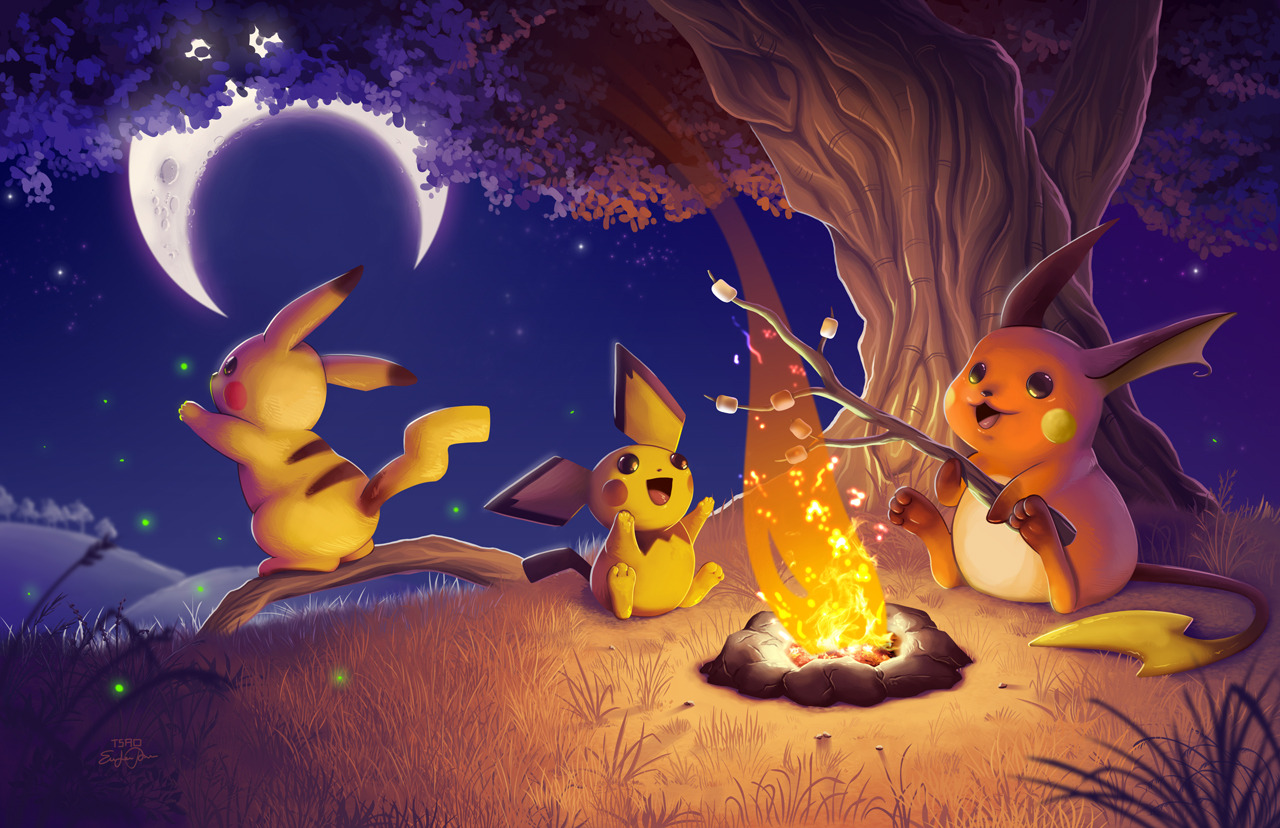 Pokemon around the campfire