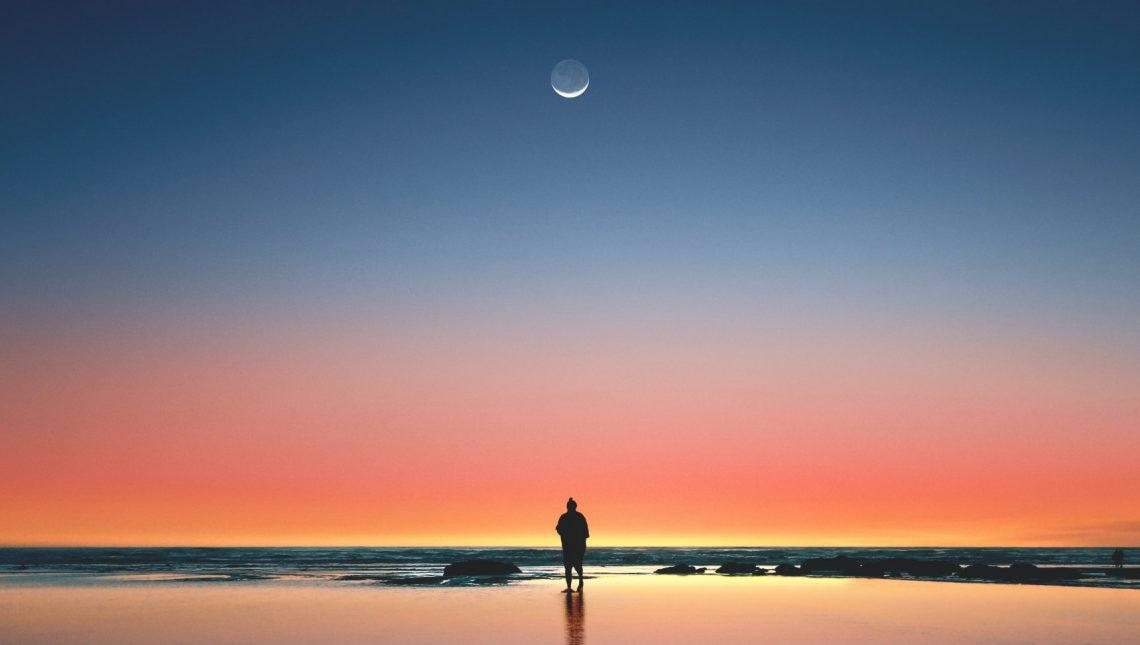 Man, Water, Moon, Sunset