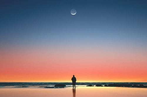 Man, Water, Moon, Sunset