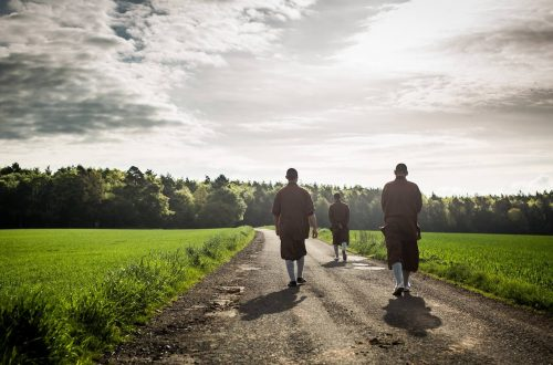 Buddhist Monks on Path
